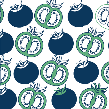 background tomatoes whole and half vegetable fresh vector illustration green and blue