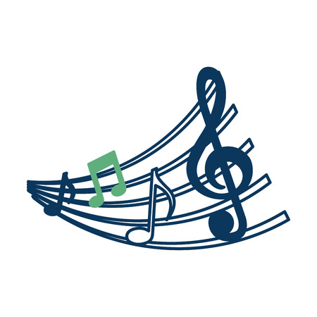 set of music notes and staff image vector illustration green and blue