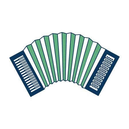 accordion musical instrument sound icon vector illustration green and blue Stock Illustratie