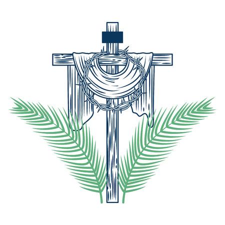 heilige kruis kroon van doornen boom palmen vector illustratie groen en blauw