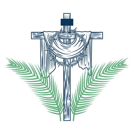 sacred cross crown of thorns tree palms vector illustration green and blue