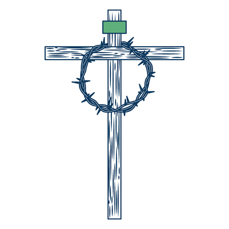 wooden cross with crown of thorns vector illustration green and blue