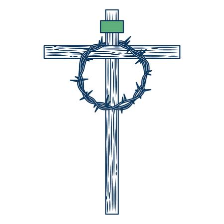 Hölzernes Kreuz mit Dornenkrone Vektor-Illustration grün und blau Standard-Bild - 98874135