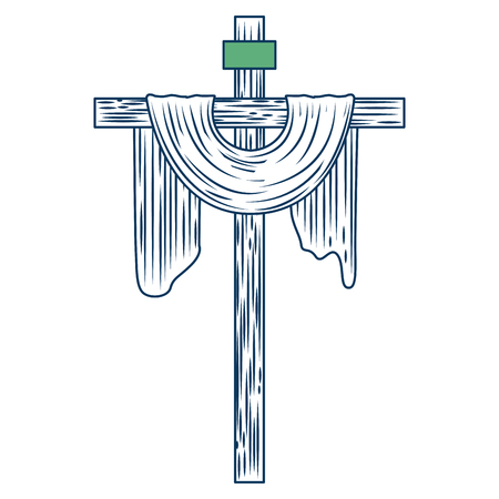 sacred cross christianity symbol icon vector illustration green and blue