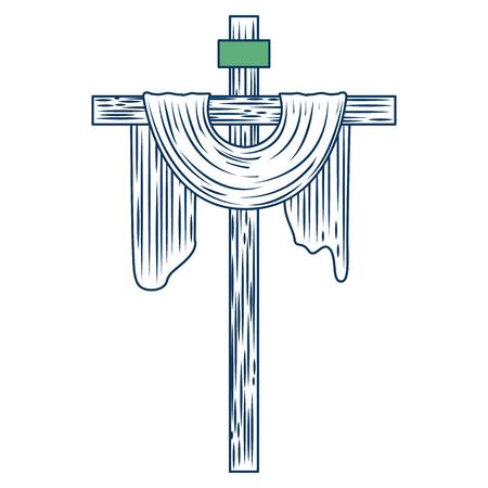 heilige kruis christendom symbool pictogram vector illustratie groen en blauw