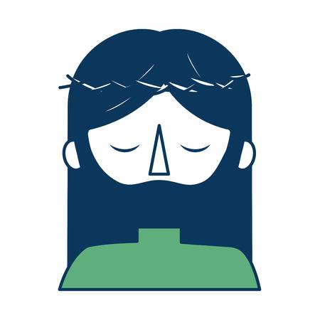 Ritratto di cartone animato gesù cristo con corona di spine illustrazione vettoriale verde e blu Archivio Fotografico - 98874139