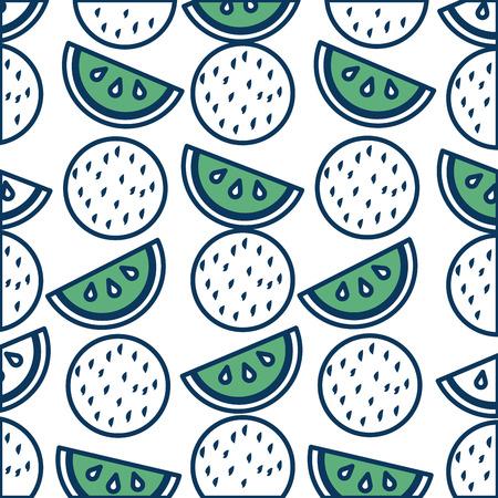 熱帯スイカココナッツフルーツエキゾチックパターンベクターイラスト緑と青  イラスト・ベクター素材