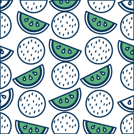 tropical watermelon coconut fruits exotic pattern vector illustration green and blue