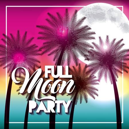 満月パーティー夏のビーチヤシ輝くベクトルイラスト