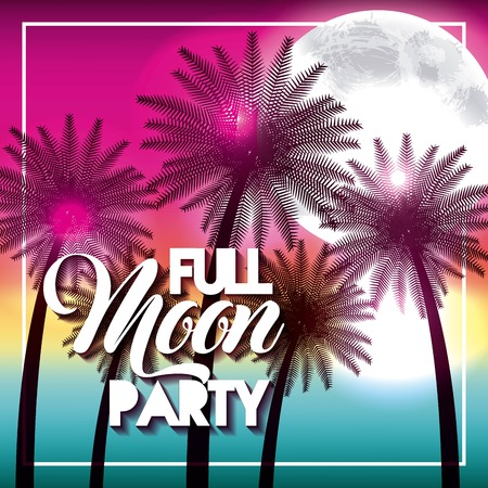 full moon party summer beach palms shine vector illustration