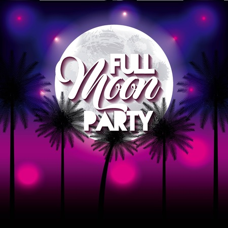 full moon party summer night celebration palms pink background vector illustration 向量圖像