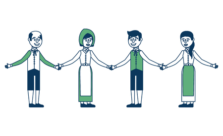 Group of Swedish people on traditional national costume  on white backdrop illustration.