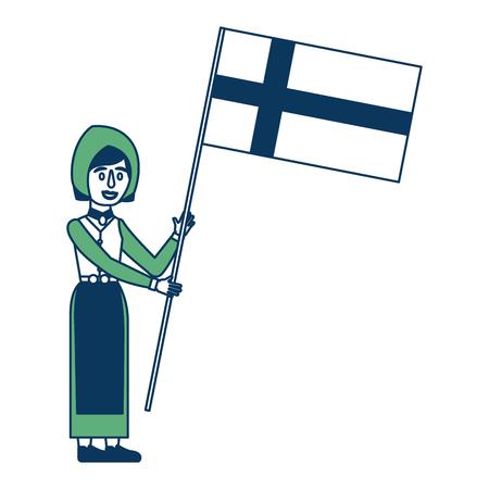スウェーデンの伝統的な民族衣装ベクトルイラスト緑と青で旗を持つ女性
