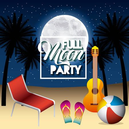 Full moon party summer with guitar, beach ball, sandals and deck chair on night scene illustration.