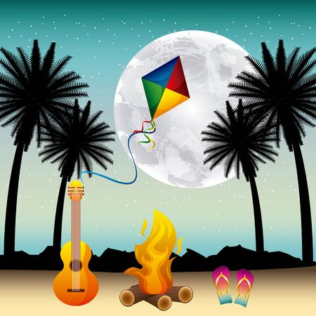 full moon party summer fire guitar kite night scene vector illustration