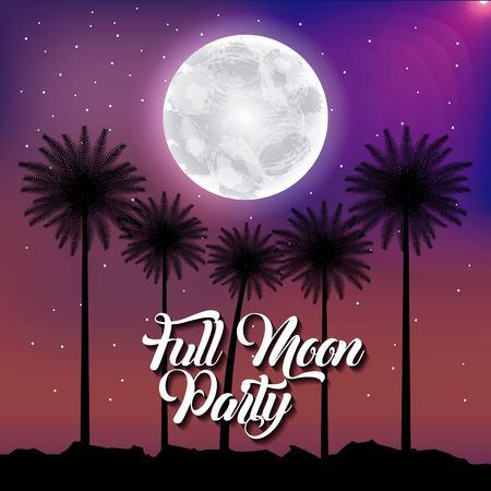 Full moon party summer palms moon stars purple scene illustration.
