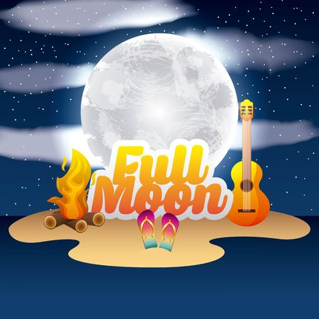 Full moon party summer moonlight, fire, guitar, sandals and clouds illustration.