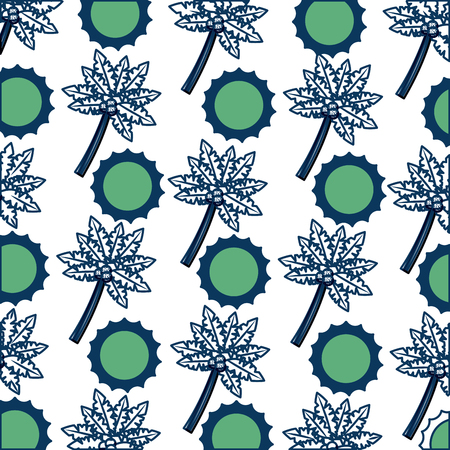 Continuous pattern of beach tropical sun and tree palm on green and blue with white backdrop illustration.