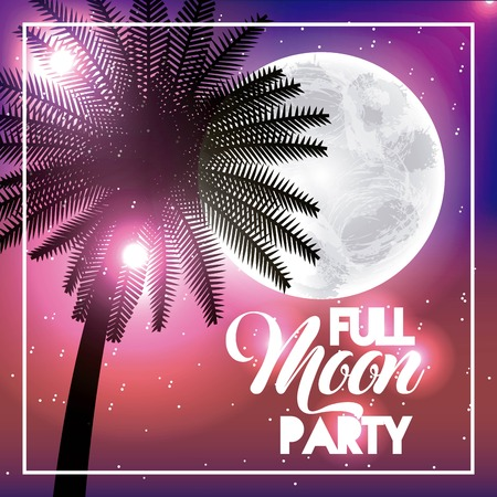 Full moon party summer palm tropical shine on colored illustration. Illustration