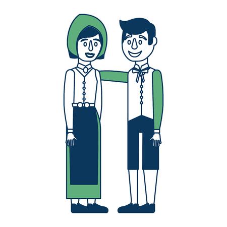 白い背景のイラストで緑と青の上に彼らの国の服を着ているスウェーデンのカップル。