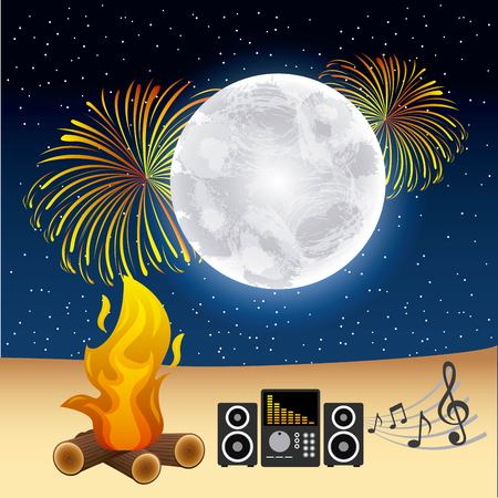 Full moon party summer fire moon fireworks music night on colored illustration.