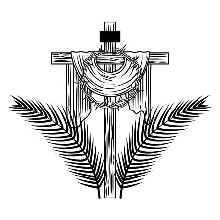とげ木のヤシのベクトル図の神聖な十字冠