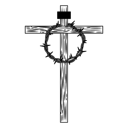 wooden cross with crown of thorns vector illustration Ilustração