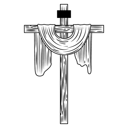 sacred cross christianity symbol icon vector illustration