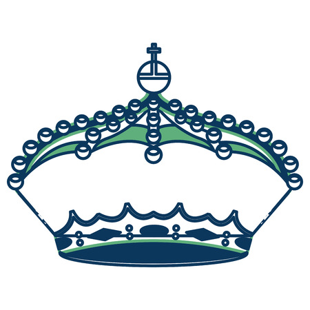 crown monarchy king ornate jewelry image vector illustration green and blue