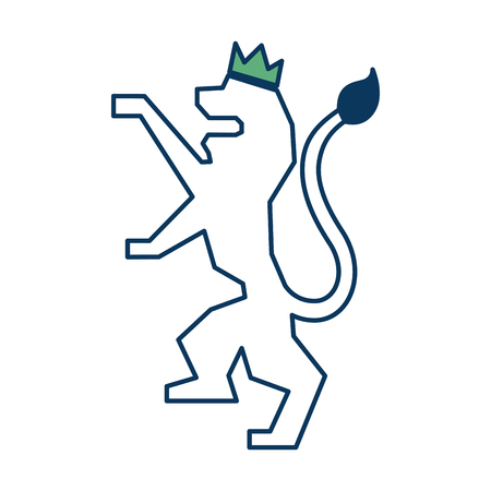 lion with a crown kingdom nobility emblem vector illustration green and blue