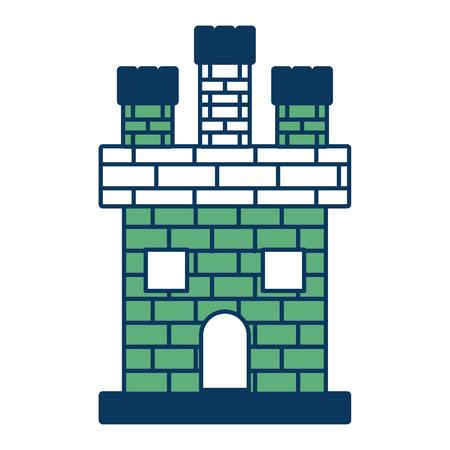 中世の城レンガのファサード王国古代ベクトルイラスト緑と青