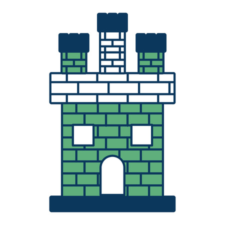 medieval castle brick facade kingdom ancient vector illustration green and blue