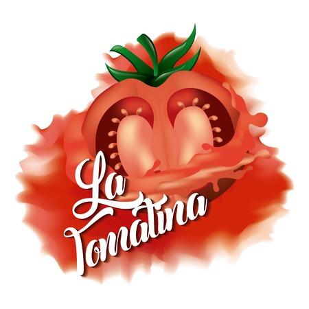 La tomatina red tomato smash with white background illustration.