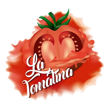 La tomatina red tomato smash with white background illustration.