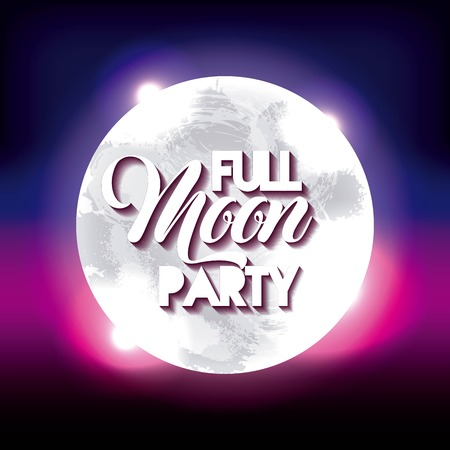 full moon party summer moon colors scene shine vector illustration Illustration