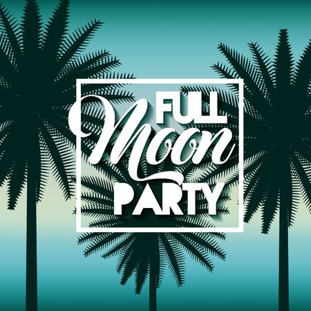 full moon party summer three palms blue backgournd ilumination vector illustration