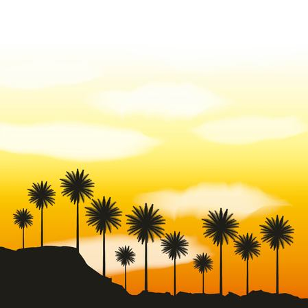 full moon party summer yellow scene palms clouds sunset vector illustration Illustration