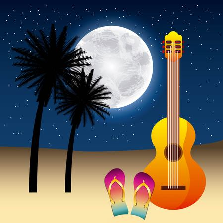 full moon party summer stars moonlight guitar sandals two palms vector illustration Illustration