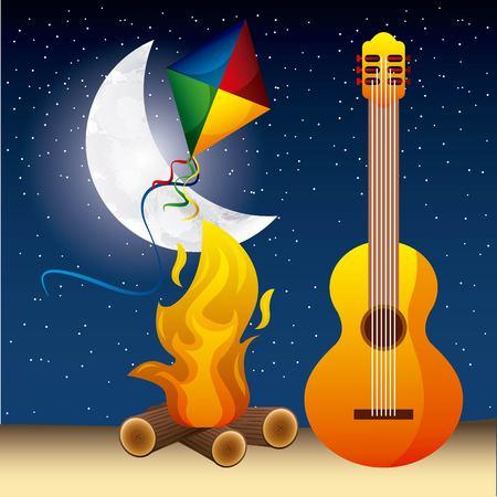 full moon party summer guitar fire night kite stars vector illustration Illusztráció