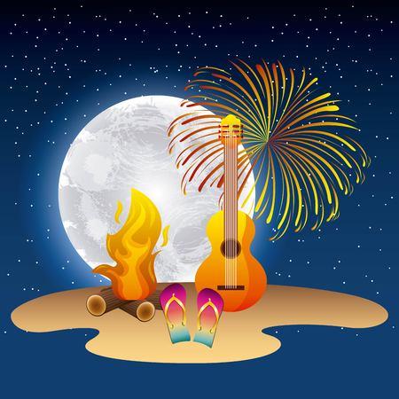 full moon party summer fireworks moonlight fire guitar sandals vector illustration Иллюстрация