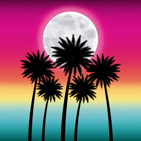 full moon party summer pink background high palms moon vector illustration Illustration