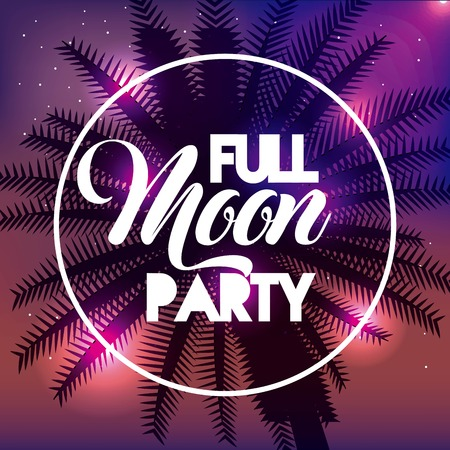 full moon party summer colors scene hug palm label shine vector illustration