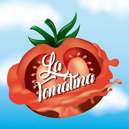 la tomatina half tomato splashed happy festival vector illustration