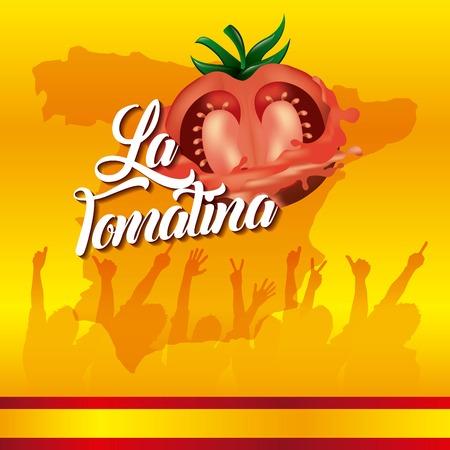 La tomatina fondo amarillo festival personas manos arriba ilustración vectorial
