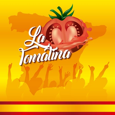 la tomatina yellow background festival people hands up vector illustration Stock Illustratie
