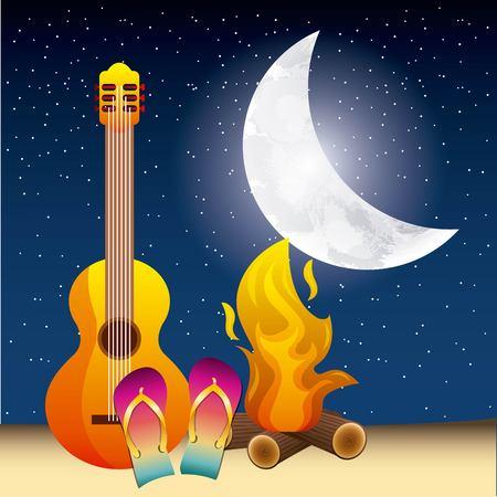 full moon party summer fire night celebration moon guitar sandals vector illustration Imagens - 98790639