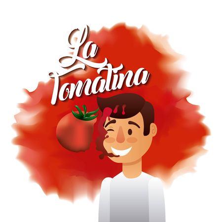 la tomatina boy red face splash tomato vector illustration Ilustração