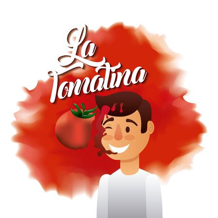 la tomatina boy red face splash tomato vector illustration Illustration