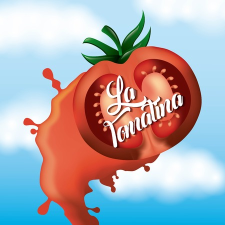 la tomatina smash tomato throwing festival vector illustration