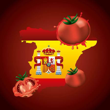 la tomatina tomato smash festival spain map flags emblem vector illustration